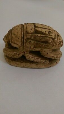 Vintage Egyptian Hand Carved Stone SCARAB Beetle Hieroglyphics NOS