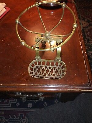 Antique Vtg Victorian Solid Brass Soap Sponge Holder Claw Foot Bath Tub Caddy