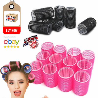 Plastic Hair Rollers Curlers Pro Self Grip Pink & Black Small or Medium NEW L@@K