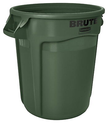 Rubbermaid Commercial BRUTE Garbage Can, Round, Plastic, 32 Gal., Dark Green