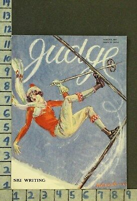 1927 Illus Delevante Sport Woman Winter Downhill Ski Fashion Love Cover Zp28