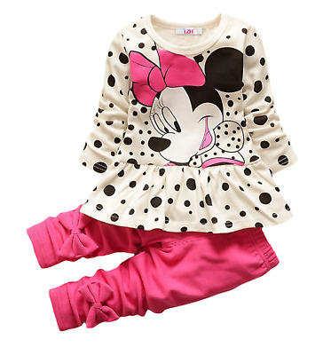 Kids Toddler Minnie Mouse Girls Outfit 2pc Set Size 2T,3T, 4T, 5