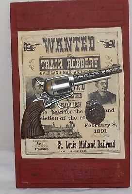 RARE WALT DISNEY WORLD Frontierland Wanted Poster 3D Gun Badge Wall Hanging 1977