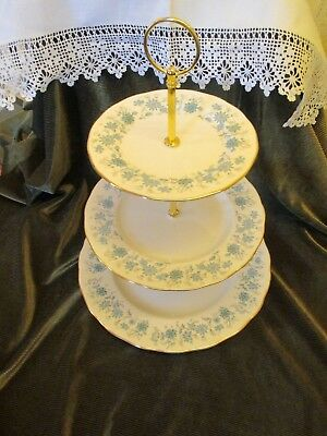 Fine Vintage Colclough China England Plated 3 Tier Cake Stand 'braganza