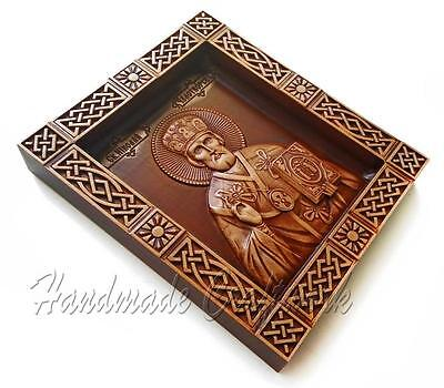 Awesome Wooden Carved Large Icon / Icons *St. Saint Nicholas * Difficult Carving
