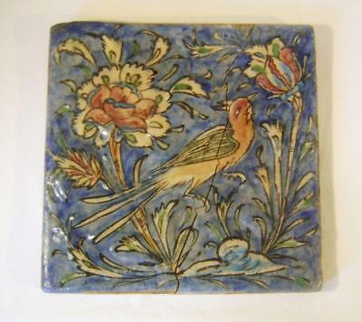 Antique Persian Faience Polychrome Tile decorated with Bird & Flowers C19th