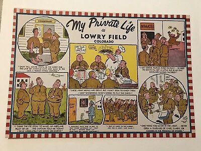 Wwii Era Oversize Postcard, My Private Life At Lowry Field, Colorado Co