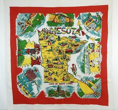 Vintage Minnesota State Tapestry Travel Visit Monuments Land Of 10,000 Lakes