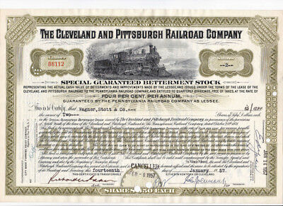 Five (5) stock certificates, Clevelend & Pittsburgh RR