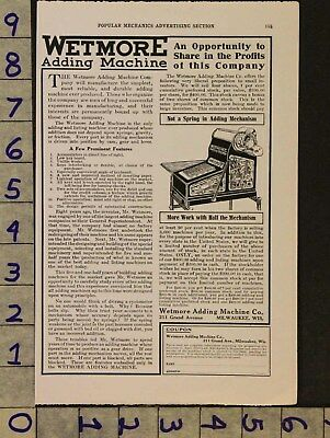 1911 Antique Wetmore Add Machine Calculator Retail Store Milwaukee Wi Ad Zv57