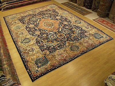 SIGNED 10 x 13 Antique Handmade High Quality Persian Pictorial Kashmar Wool Rug