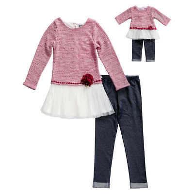 """Girl 4-12 and 18/"""" Doll Matching Pink Striped Tunic Leggings Outfit American Girl"""