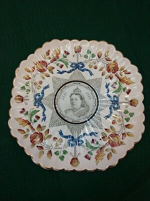 Antique Queen Victoria 50-year plate hand-painted
