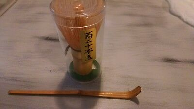 Japanese Tea Ceremony Chasen Bamboo Whisk 120- w/ Chashaku Bamboo Scoop