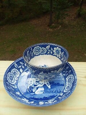 1820? Blue Transfer ware No Handle Cup and Saucer Pastoral Scene