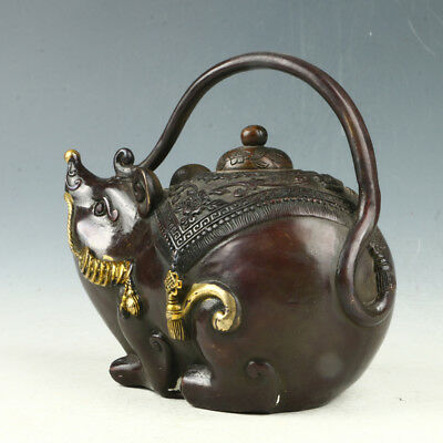 Exquisite Red Copper Gilt Hand Carved Mouse Teapot W Xuande Mark AAA0064