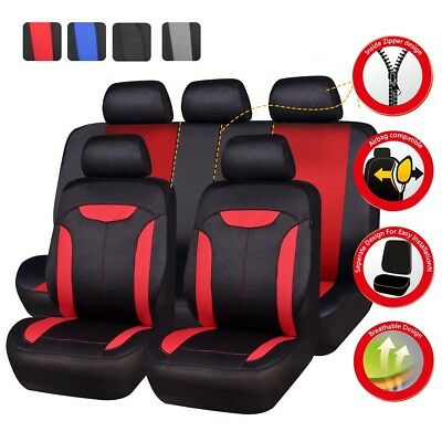 Universal Car Seat Cover Red Black Auto Seat Cover Airbag Compatible 40/60 50/50