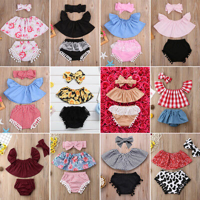 AU Toddler Baby Girl Off Shoulder T-shirt Top Clothes+Shorts Headband Outfit Set