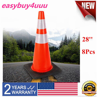 """8× 28"""" Traffic Cones Black Base 2 Reflective Collars Road Parking Safety Cones"""