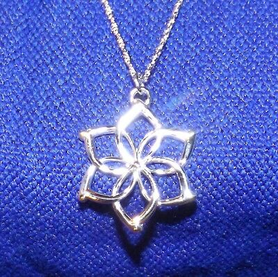 """The Hobbit Galadriel Flower Necklace Sterling Silver by Noble 18"""" Chain NEW LOTR"""