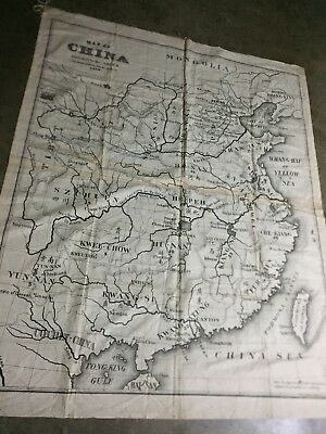 RARE  DOCUMENT  OF HISTORICAL Significance-1898 Cloth Map Of China By ABCFM-