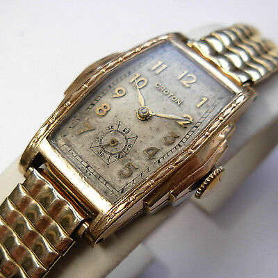 Vintage 1930s Swiss Croton Men's Step-Case Art Deco Watch