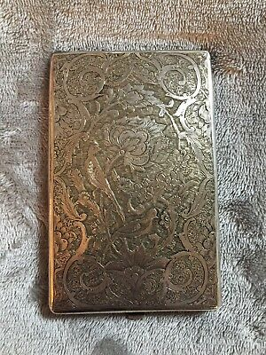 Large Rare Vintage Islamic Persian Solid Silver Cigarette Case