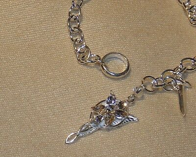 Lord of the Rings Arwen Evenstar Charm Bracelet by Noble Sterling & Crystal NEW