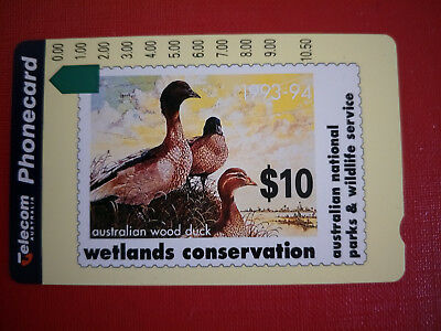 Mint $10.00 Wood Duck Phonecard Prefix 453