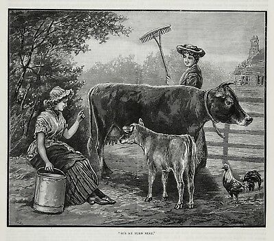 Cow Dairy Calf Waits Turn for Milk with Milkmaid, 1890s Antique Print