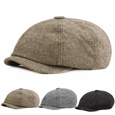 Peaky Blinders Cotton Blend Bakerboy tweed Newsboy Hat Country Gatsby Flat Cap