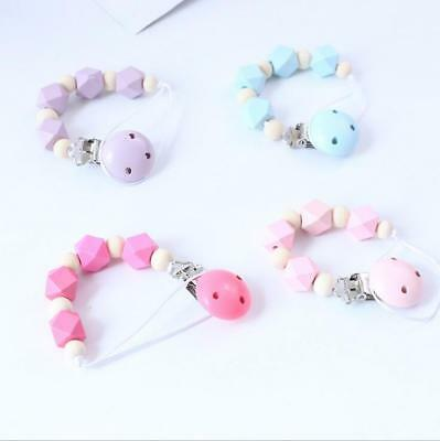 Baby Pacifier Clip Chain Wood Cross Sections Beads dummy Holder Feeding Teether