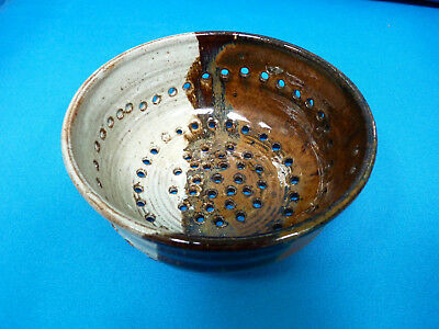Hand Made Pottery Berry Strainer In Very Good Condition With A Glazed Finish