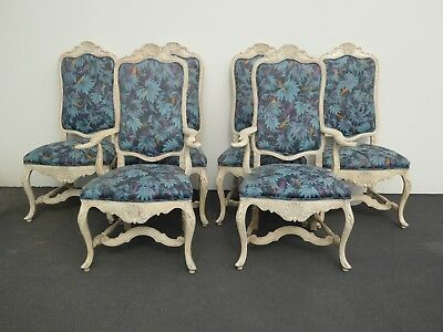 Six Vintage Minton Spidell French Country Ornate Blue Floral Dining Chairs Seven