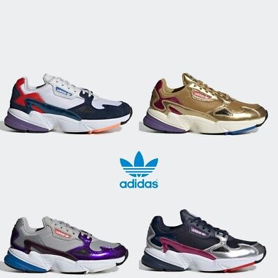 huge selection of 3f47b 35618 Adidas Falcon Running Retro Shoes Sneakers Gold Navy Grey White SZ4-12