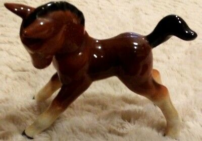 Vintage SILVAC England Porcelain HORSE Foal FIGURINE 4.5 inches Ceramic Romping