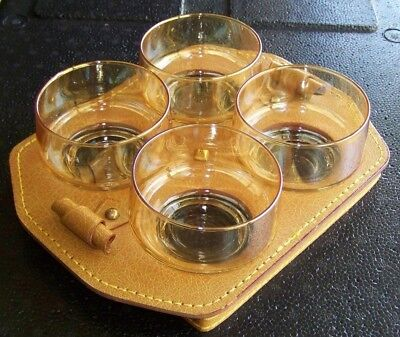Rare Retro Set 4 Lustre Cocktail Glasses /Bowls In Gorgeous Leather Carrier Tray