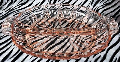1 Anchor Hocking Oyster and Pearl Pink Pressed Glass 2 Part Serving Dish 12 in