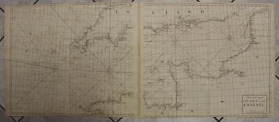English Channel England France 1764 Greenville Collins Wall 2 Sheets Antique Map