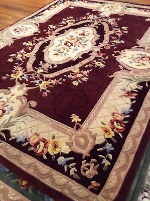 """Royal Palace Rugs Special Edition Savonnerie 8' x 10'6"""" Wool Rug Burgundy $725"""
