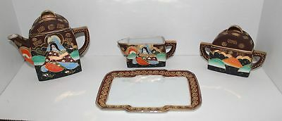 Vintage Japan Satsuma Moriage Gold Trim Immortals Tea Set Cream & Sugar w/Tray