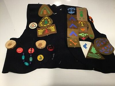 1950s Vintage Camp Fire Girls vest with beads badges and patches