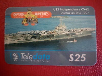 Teledata $25 USS Independence 1997 Tour & Captain Munchies Phonecard