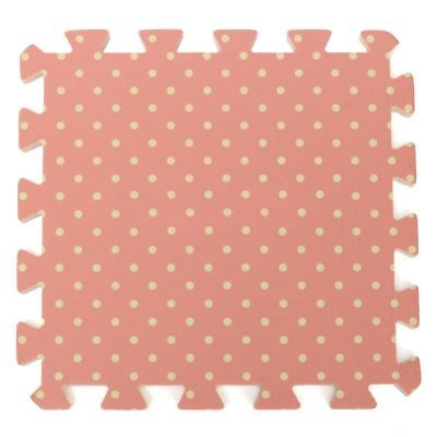 9PCS Kid Safety Play Rug EVA Foam Floor Puzzle Pad Work Gym, Pink Dots D3P6