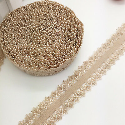 "New 5 yards 3/4"" 20mm Lace Multirole fold over elastic Spandex Satin Band Khaki"