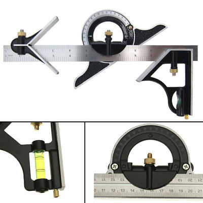"""Combination Measuring Angle Tool Rule Tri- Square Ruler Steel Machinist 12"""""""