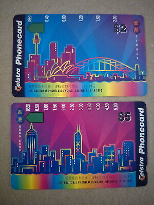 Phonecards World 95 Phonecards Hong Kong by Night & Sydney Ex Phonecard Pack