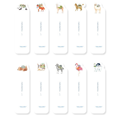 30pcs Cartoon Animals Bookmarks Stationery Kids Book Holder Paper Note Pad Cute