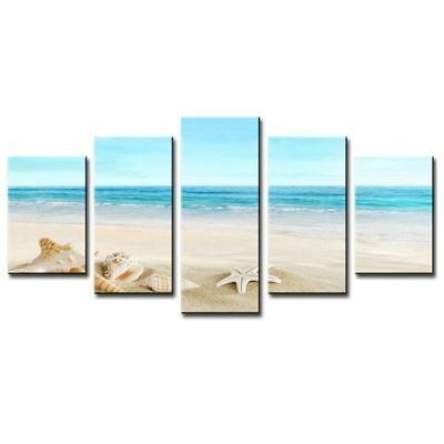 5 Panel Modern Sea Oil Painting Pictures Home Decor Wall Art Ocean Beach Pa L2D3