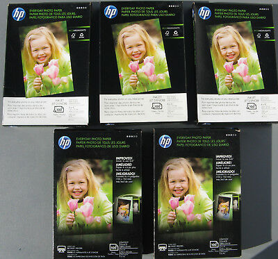 Lot 5 x 100 HP 4x6 Everyday Glossy Photo Inkjet Paper & Eco Highlights 53 & 45lb